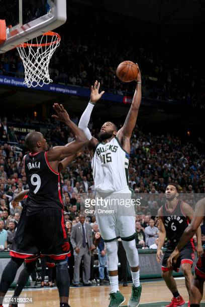 Greg Monroe of the Milwaukee Bucks goes to the basket against the Toronto Raptors during Game Six of the Eastern Conference Quarterfinals of the 2017...