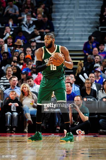 Greg Monroe of the Milwaukee Bucks handles the ball against the Detroit Pistons on March 21 2016 at The Palace of Auburn Hills in Auburn Hills...