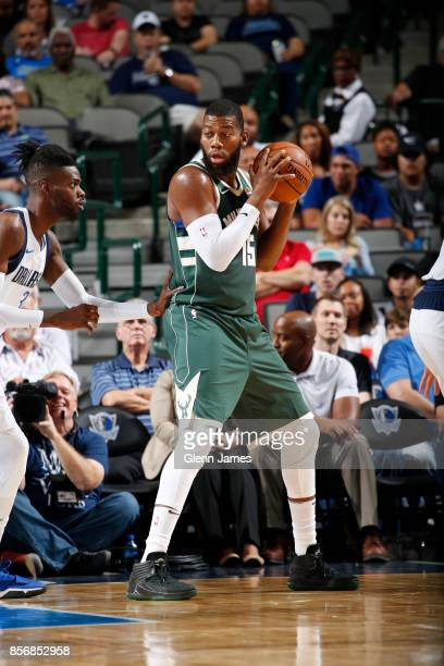 Greg Monroe of the Milwaukee Bucks handles the ball against the Dallas Mavericks during the preseason game on October 2 2017 at the American Airlines...
