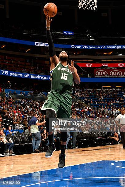 Greg Monroe of the Milwaukee Bucks shoots a lay up against the Orlando Magic on November 27 2016 at Amway Center in Orlando Florida NOTE TO USER User...