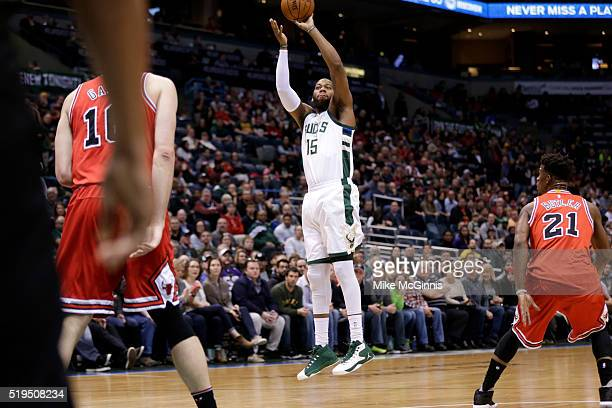 Greg Monroe of the Milwaukee Bucks shoots a two pointer during the game against the Chicago Bulls at BMO Harris Bradley Center on April 03 2016 in...