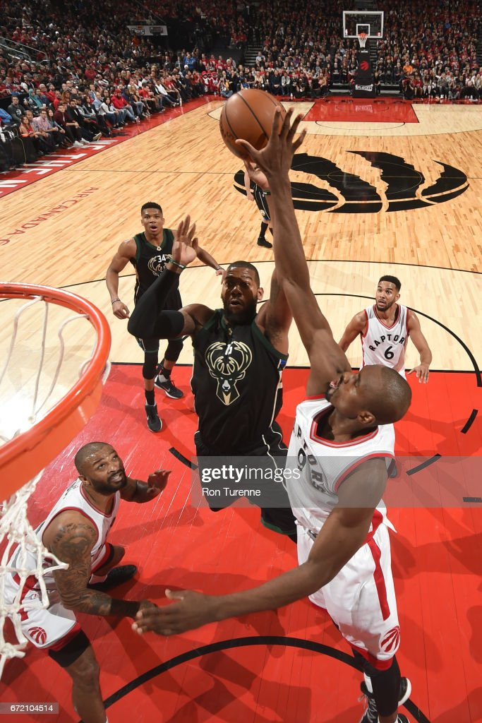 Greg Monroe #15 of the Milwaukee Bucks shoots the ball against the Toronto Raptors in Round One of the Eastern Conference Playoffs during the 2017 NBA Playoffs on April 15, 2017 at the Air Canada Centre in Toronto, Ontario, Canada.