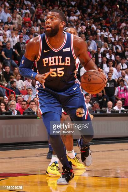 Greg Monroe of the Philadelphia 76ers drives to the basket during the game against the Miami Heat on April 9 2019 at American Airlines Arena in Miami...