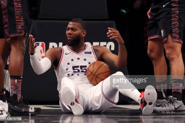 Greg Monroe of the Philadelphia 76ers reacts after a play in the first quarter against the Brooklyn Nets during game three of Round One of the 2019...