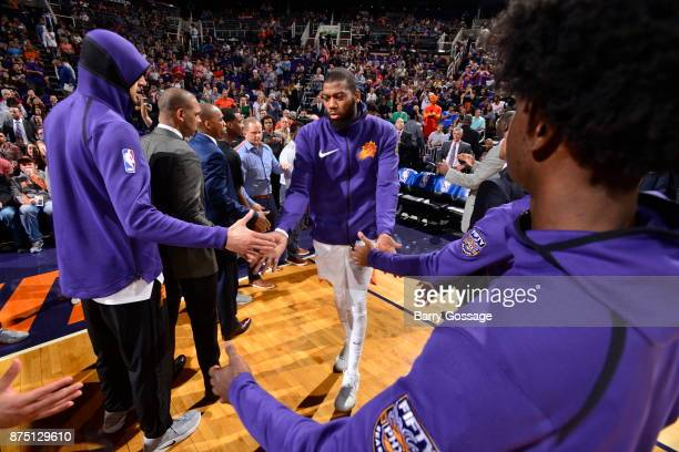 Greg Monroe of the Phoenix Suns gets introduced before the game against the Houston Rockets on November 16 2017 at Talking Stick Resort Arena in...