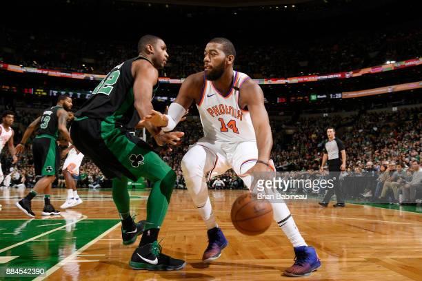 Greg Monroe of the Phoenix Suns handles the ball against the Boston Celtics on December 2 2017 at the TD Garden in Boston Massachusetts NOTE TO USER...