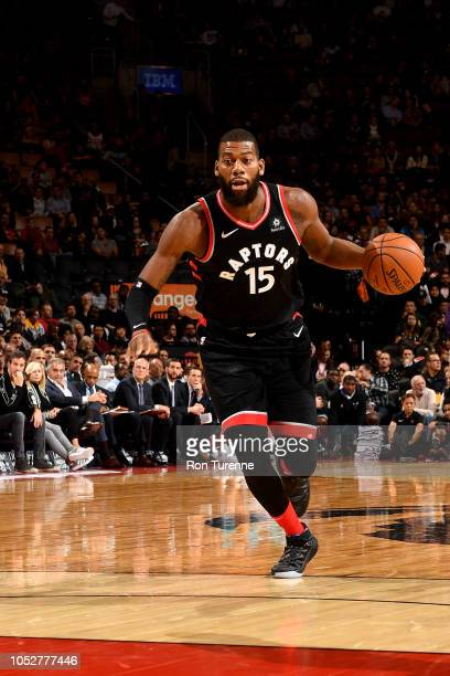 Greg Monroe of the Toronto Raptors handles the ball against the Charlotte Hornets on October 22 2018 at the Scotiabank Arena in Toronto Ontario...