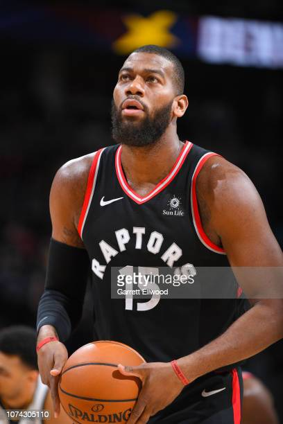 Greg Monroe of the Toronto Raptors shoots a free throw during the game against the Denver Nuggets on December 16 2018 at the Pepsi Center in Denver...