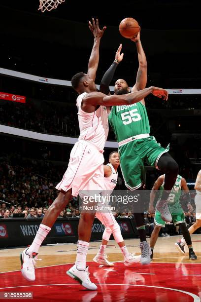 Greg Monroe of the Washington Wizards shoots the ball during the game against the Washington Wizards on February 8 2018 at Capital One Arena in...