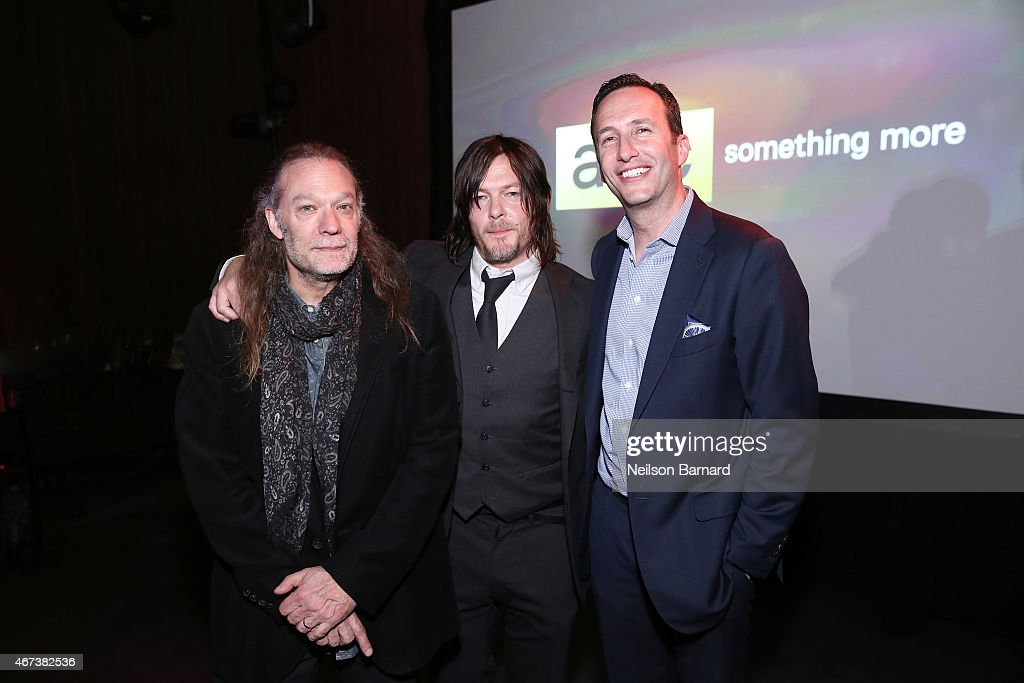 Greg Nicotero, actor Norman Reedus and Chief Operating Officer AMC Networks Inc and AMC President Charlie Collier attend the AMC Ad Sales Event celebrating AMC's 'The Walking Dead' at The Highline Ballroom on March 23, 2015 in New York City.