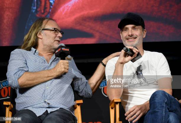 Greg Nicotero and Andrew Lincoln speak onstage during The Walking Dead panel during New York Comic Con at Jacob Javits Center on October 6 2018 in...