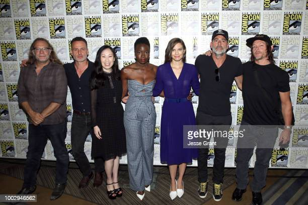 Greg Nicotero, Andrew Lincoln, Danai Gurira, Angela Kang, Lauren Cohan, Jeffrey Dean Morgan, and Norman Reedus attend The Walking Dead Press...