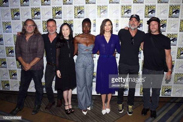 Greg Nicotero Andrew Lincoln Danai Gurira Angela Kang Lauren Cohan Jeffrey Dean Morgan and Norman Reedus attend The Walking Dead Press Conference...