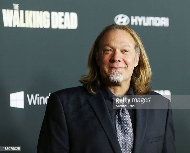 Greg Nicotero arrives at the Los Angeles premiere of AMC's The Walking Dead 4th season held at Universal CityWalk on October 3 2013 in Universal City...
