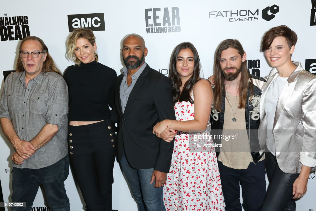 Greg Nicotero, Jenna Elfman, Khary Payton, Alanna Masterson, Tom Payne and Maggie Grace attend 'Survival Sunday: The Walking Dead and Fear The Walking Dead' at AMC Century City 15 theater on April 15, 2018 in Century City, California.
