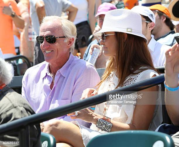 Greg Norman and Kirsten Kutner are seen at the Miami Open tennis tournament on April 5 2015 in Key Biscayne Florida