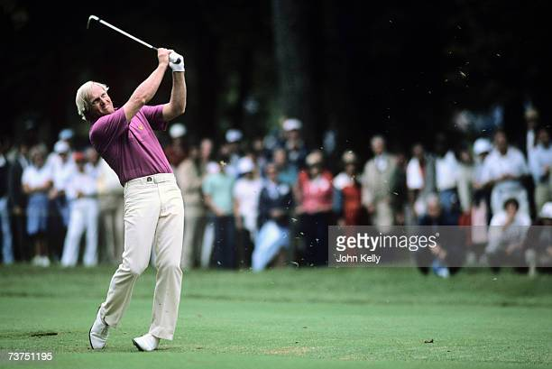 Greg Norman hits out of the fairway during the 1984 US Open at the Winged Foot Golf Club.