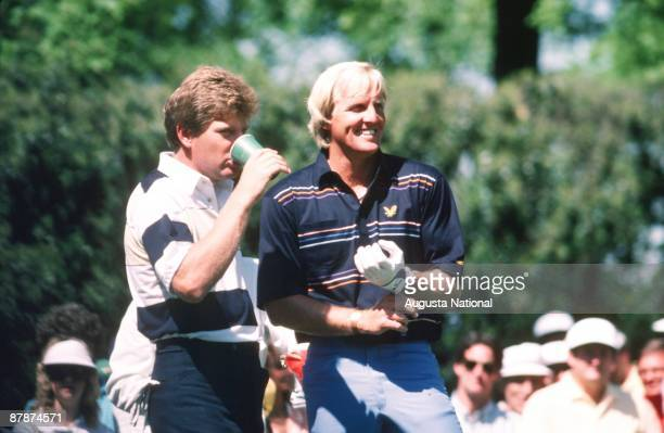 Greg Norman laughs with Nick Price during the 1986 Masters Tournament at Augusta National Golf Club in April 1986 in Augusta, Georgia.