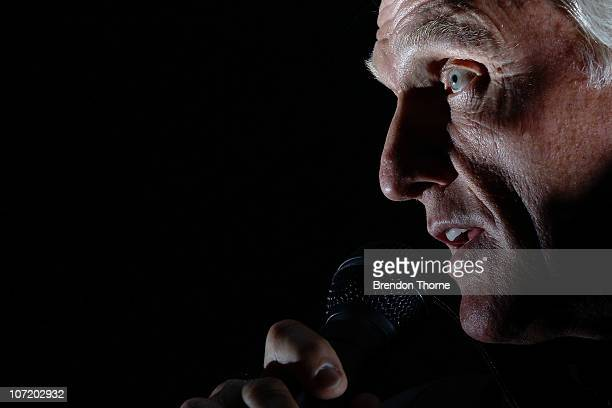 Greg Norman of Australia addresses the media during a press conference ahead of the Australian Open at The Lakes Golf Club on November 30, 2010 in...