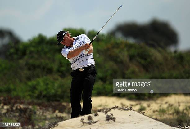 Greg Norman of Australia during practice as a preview for the 2011 Australian Open at The Lakes Golf Club on November 8, 2011 in Sydney, Australia.