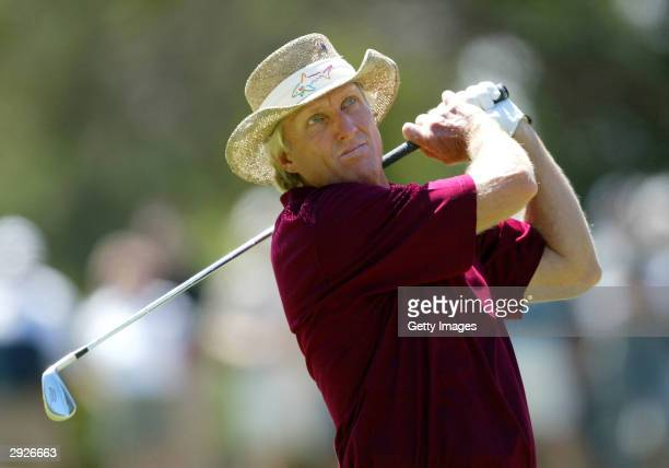 Greg Norman of Australia hits a fairway shot during the Heineken Classic Pro Am at Royal Melbourne Golf Club February 4 2004 in Melbourne Australia