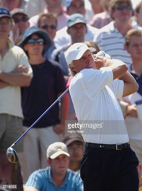 Greg Norman of Australia hits from the seventh tee during the third round of The Open Championship on July 19 2003 at the Royal St George's course in...