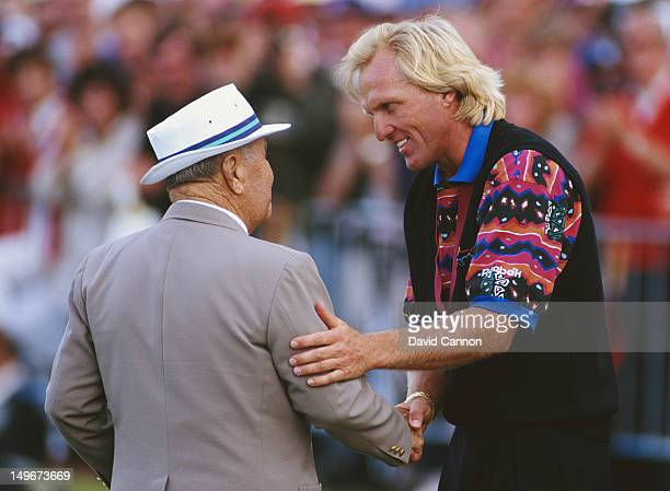Greg Norman of Australia is congratulated by Gene Sarazen after winning the 122nd Open Championship on 18th July 1993 at the Royal St George's Golf...