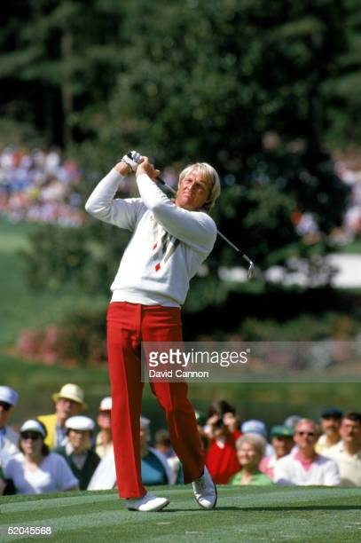 Greg Norman of Australia plays a shot during the 1986 US Masters