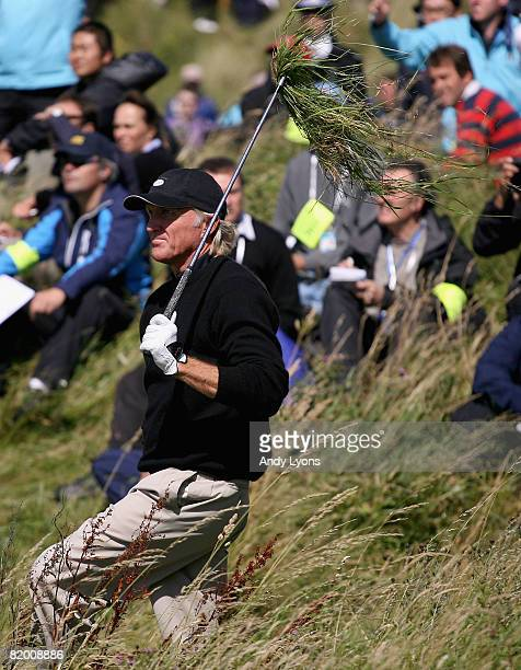 Greg Norman of Australia plays out of the rough on the 6th hole during the final round of the 137th Open Championship on July 20, 2008 at Royal...