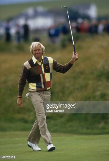 Greg Norman of Australia scores a birdie on the 5th hole during the third round of the 1986 British Open Golf Championship held on July 19 1986 at...