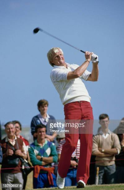Greg Norman of Australia teeing off during the final round of the 114th Open Championship golf tournament on 21st July 1985 at the Royal St George's...