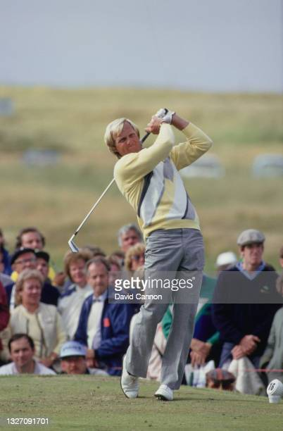 Greg Norman of Australia teeing off the 16th during the final round of the 115th Open Championship golf tournament on 20th July 1986 at the Ailsa...