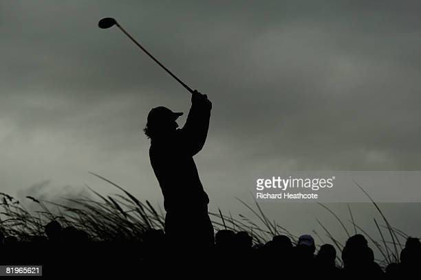 Greg Norman of Australia tees off on the 11th hole during the First Round of the 137th Open Championship on July 17 2008 at Royal Birkdale Golf Club...