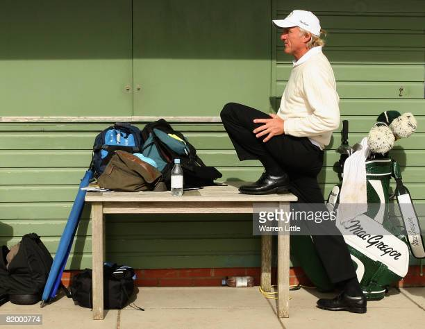 Greg Norman of Australia waits on the tenth hole during the third round of the 137th Open Championship on July 19 2008 at Royal Birkdale Golf Club...