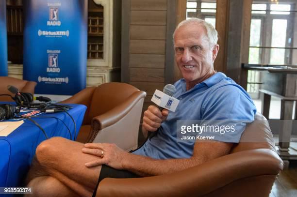 Greg Norman on SiriusXM Radio at Medalist Golf Club on May 18, 2018 in Hobe Sound, Florida.