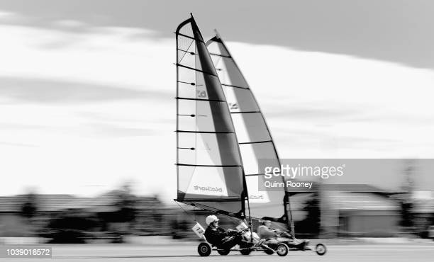 Greg Oakes and Russell Whitehouse competes during the 2018 Victorian Blokart Championships on September 22 2018 in Melbourne Australia