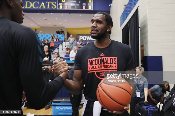 Greg Oden greets players before the 2019 Powerade Jam Fest on March 25 2019 in Marietta Georgia