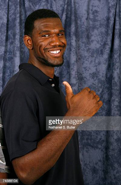 Greg Oden NBA Draft prospect poses for a photograph after an NBATV Roundtable shoot on June 13 2007 at the Intercontinental Hotel in Cleveland Ohio...