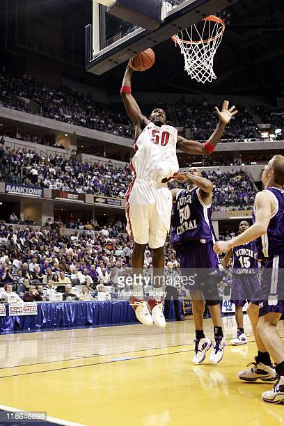 Greg Oden of Lawrence North High School in Indianapolis IN plays against Muncie Central in the 4A state final championships at Conseco Fieldhouse in...