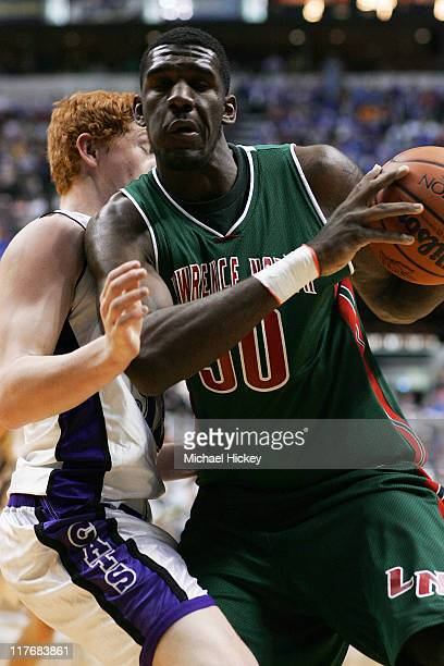 Greg Oden of Lawrence North High School in Indianapolis plays in the Indiana State High School 4A championship game at Conseco Fieldshouse in...