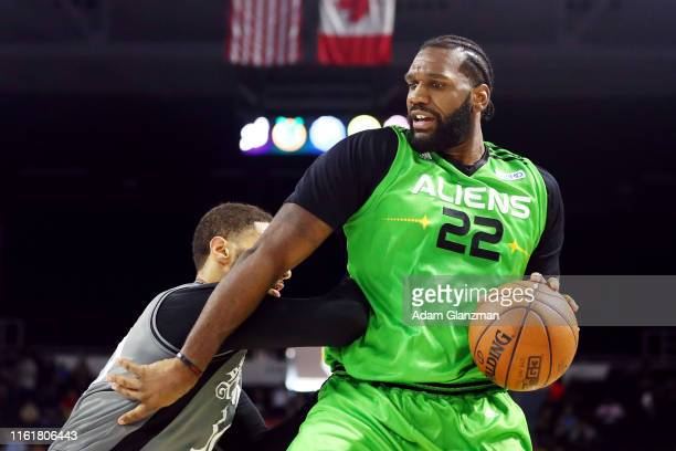 Greg Oden of the Aliens handles the ball against the Enemies during week four of the BIG3 three on three basketball league at Dunkin' Donuts Center...