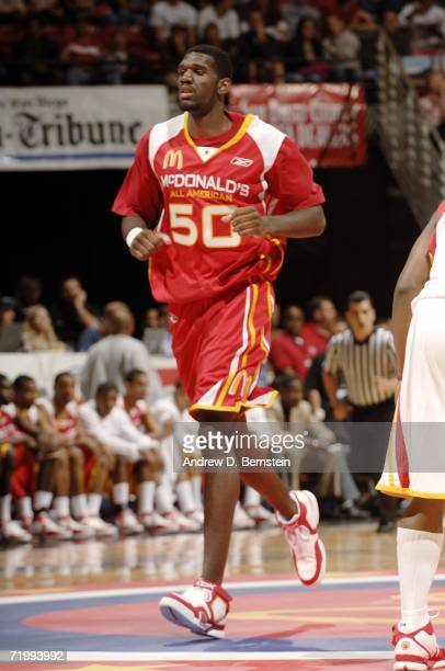 Greg Oden of the East looks on against the West during the 2006 McDonald's All American High School Basketball game at Cox Arena on March 29 2006 in...