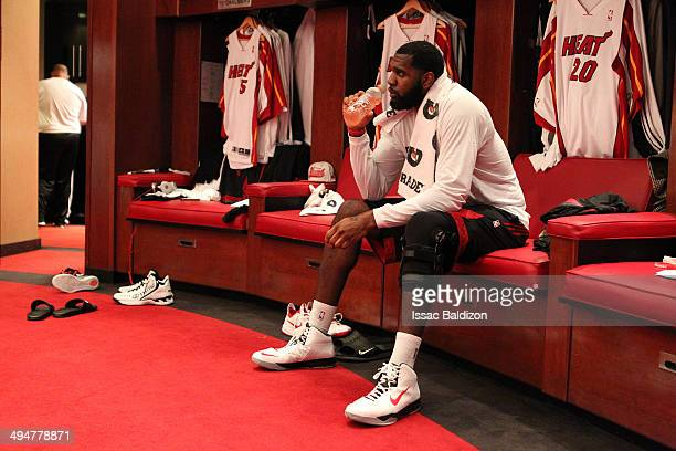 Greg Oden of the Miami Heat before Game Six of the Eastern Conference Finals against the Indiana Pacers during the 2014 NBA Playoffs on May 30 2014...