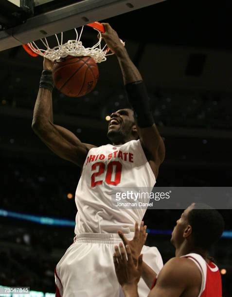 Greg Oden of the Ohio State Buckeyes dunks against the Wisconsin Badgers during the Final of the Big Ten Men's Basketball Conference Tournament March...