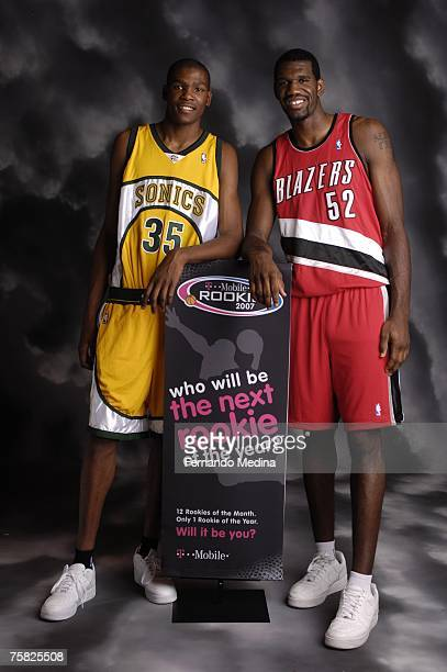 Greg Oden of the Portland Trail Blazers and Kevin Durant of the Seattle SuperSonics pose for a portrait during the 2007 NBA Rookie Photo Shoot on...