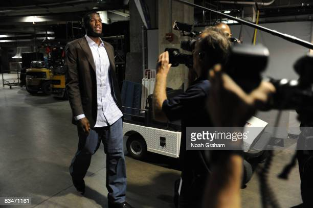 Greg Oden of the Portland Trail Blazers arrives prior to the seasonopening game against the Los Angeles Lakers at Staples Center on October 28 2008...