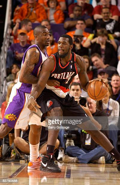 Greg Oden of the Portland Trail Blazers is guarded by Amare Stoudemire of the Phoenix Suns in an NBA game played on November 22 at US Airway Center...