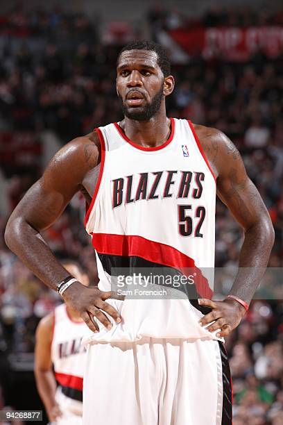 Greg Oden of the Portland Trail Blazers looks on during the game against the New Jersey Nets at The Rose Garden on November 25 2009 in Portland...