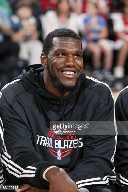 Greg Oden of the Portland Trail Blazers participates in the teams annual Fan Fest open practice event on October 3 2008 at the Rose Garden Arena in...