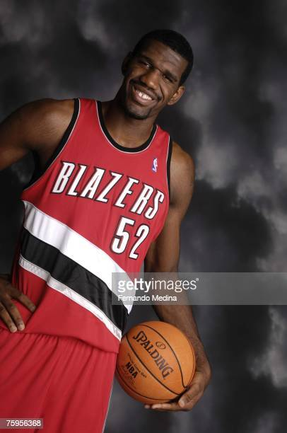 Greg Oden of the Portland Trail Blazers poses for a portrait during the 2007 NBA Rookie Photo Shoot on July 27, 2007 at the MSG Training Facility in...